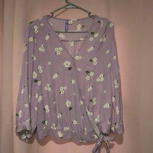 Lavender floral side tie shirt